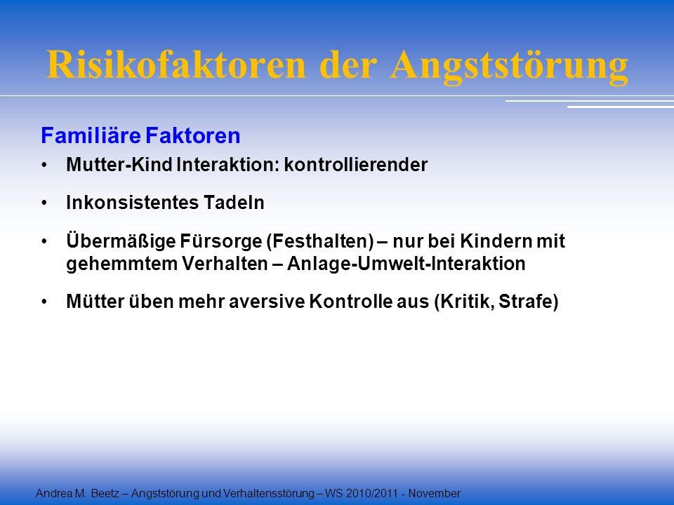 Andrea M. Beetz – Angststörung und Verhaltensstörung – WS 2010/2011 - November Risikofaktoren der Angststörung Familiäre Faktoren Mutter-Kind Interakt