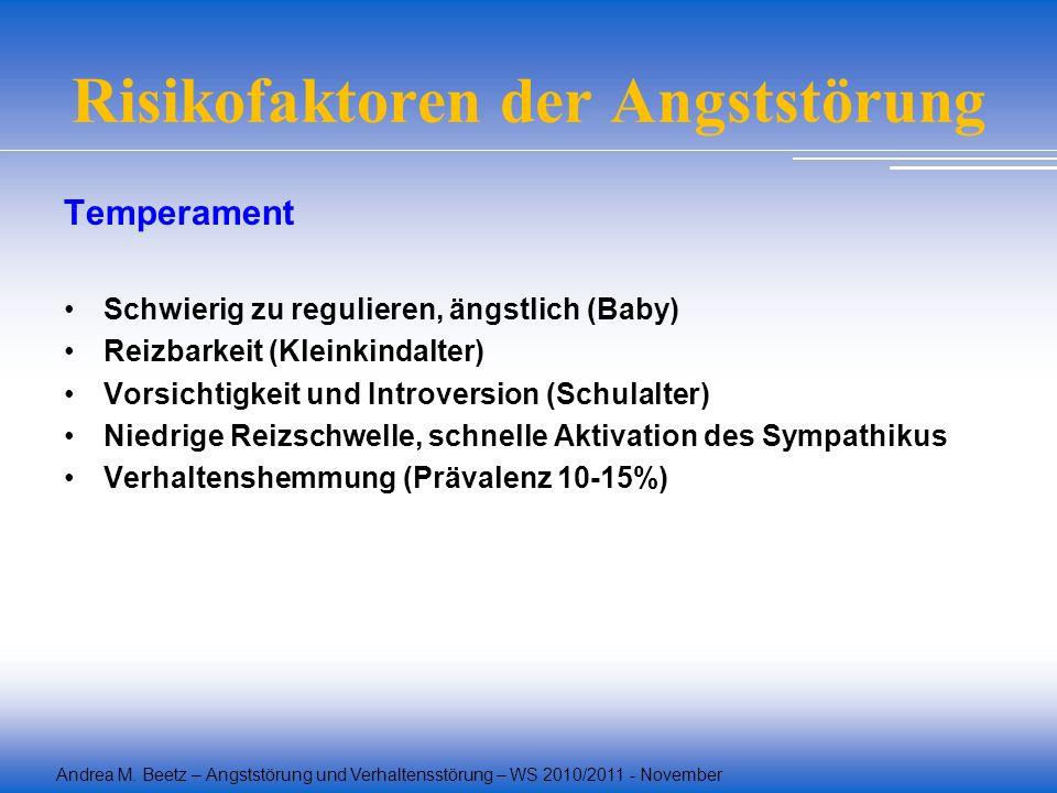 Andrea M. Beetz – Angststörung und Verhaltensstörung – WS 2010/2011 - November Risikofaktoren der Angststörung Temperament Schwierig zu regulieren, än
