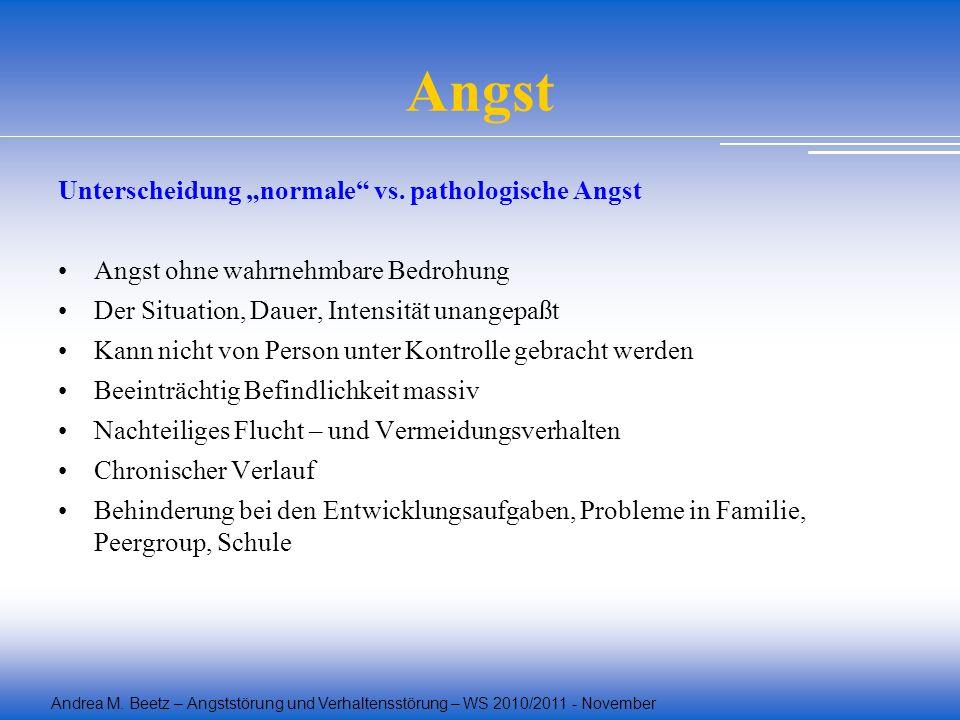 Andrea M. Beetz – Angststörung und Verhaltensstörung – WS 2010/2011 - November Angst Unterscheidung normale vs. pathologische Angst Angst ohne wahrneh