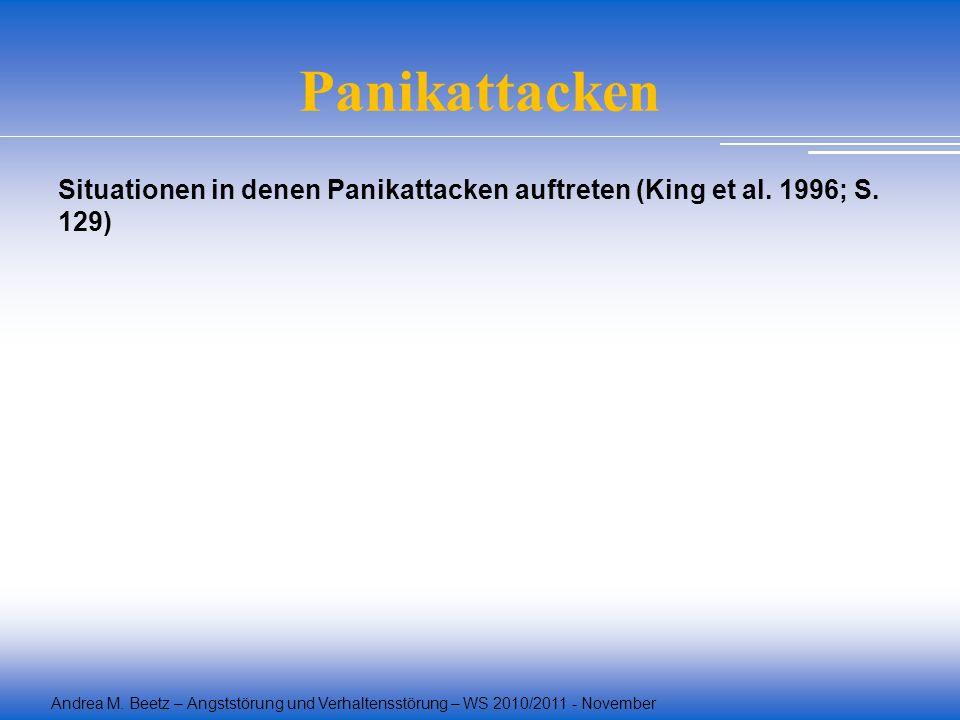 Andrea M. Beetz – Angststörung und Verhaltensstörung – WS 2010/2011 - November Panikattacken Situationen in denen Panikattacken auftreten (King et al.