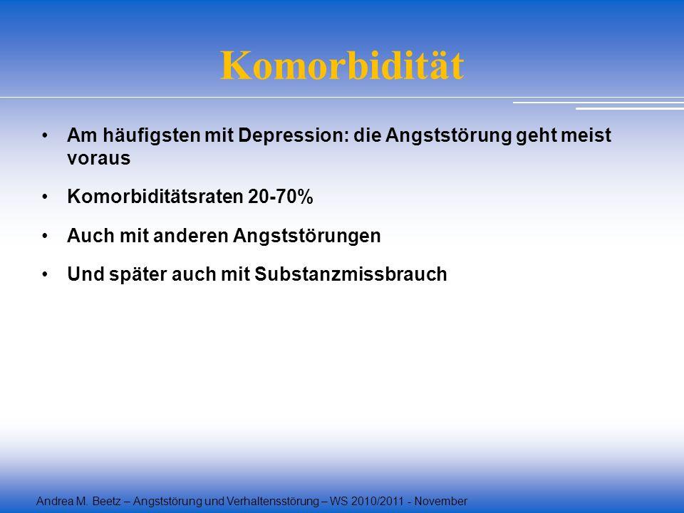 Andrea M. Beetz – Angststörung und Verhaltensstörung – WS 2010/2011 - November Komorbidität Am häufigsten mit Depression: die Angststörung geht meist
