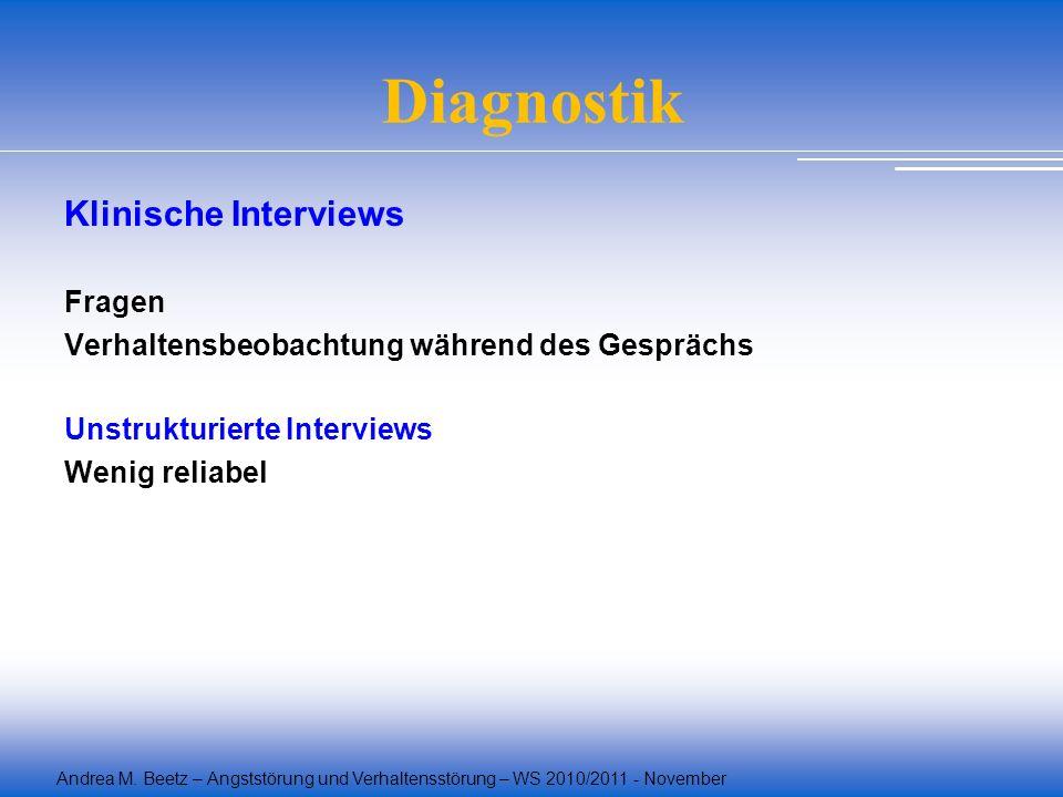 Andrea M. Beetz – Angststörung und Verhaltensstörung – WS 2010/2011 - November Diagnostik Klinische Interviews Fragen Verhaltensbeobachtung während de