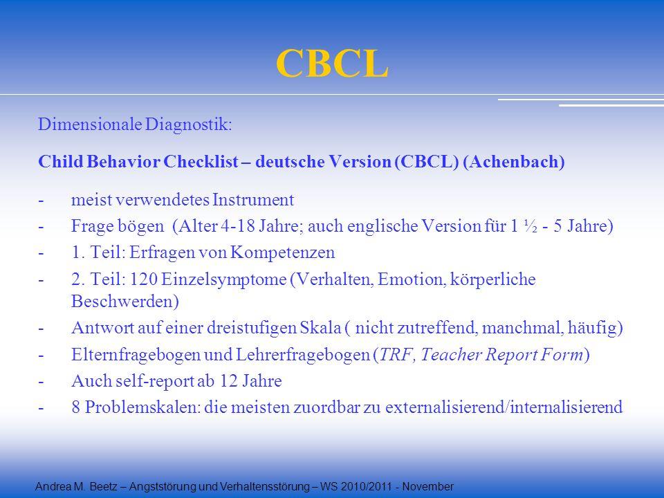 Andrea M. Beetz – Angststörung und Verhaltensstörung – WS 2010/2011 - November CBCL Dimensionale Diagnostik: Child Behavior Checklist – deutsche Versi