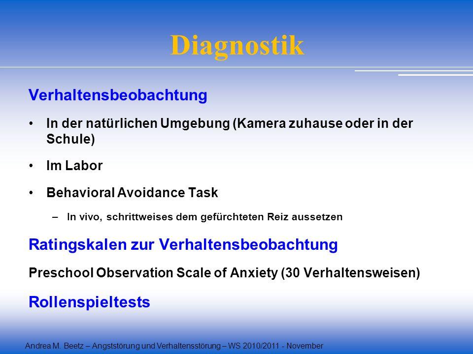 Andrea M. Beetz – Angststörung und Verhaltensstörung – WS 2010/2011 - November Diagnostik Verhaltensbeobachtung In der natürlichen Umgebung (Kamera zu