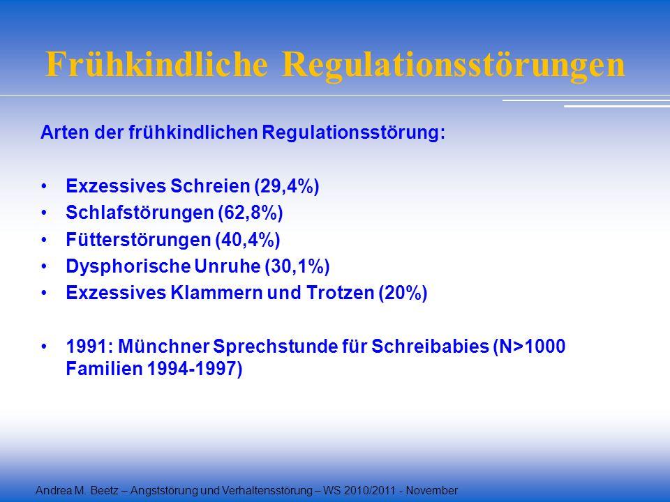 Andrea M. Beetz – Angststörung und Verhaltensstörung – WS 2010/2011 - November Frühkindliche Regulationsstörungen Arten der frühkindlichen Regulations