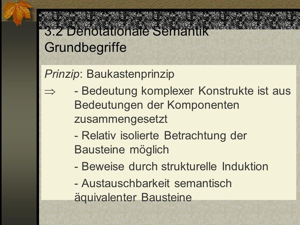 3.2 Denotationale Semantik Grundbegriffe Prinzip: Baukastenprinzip - Bedeutung komplexer Konstrukte ist aus Bedeutungen der Komponenten zusammengesetz