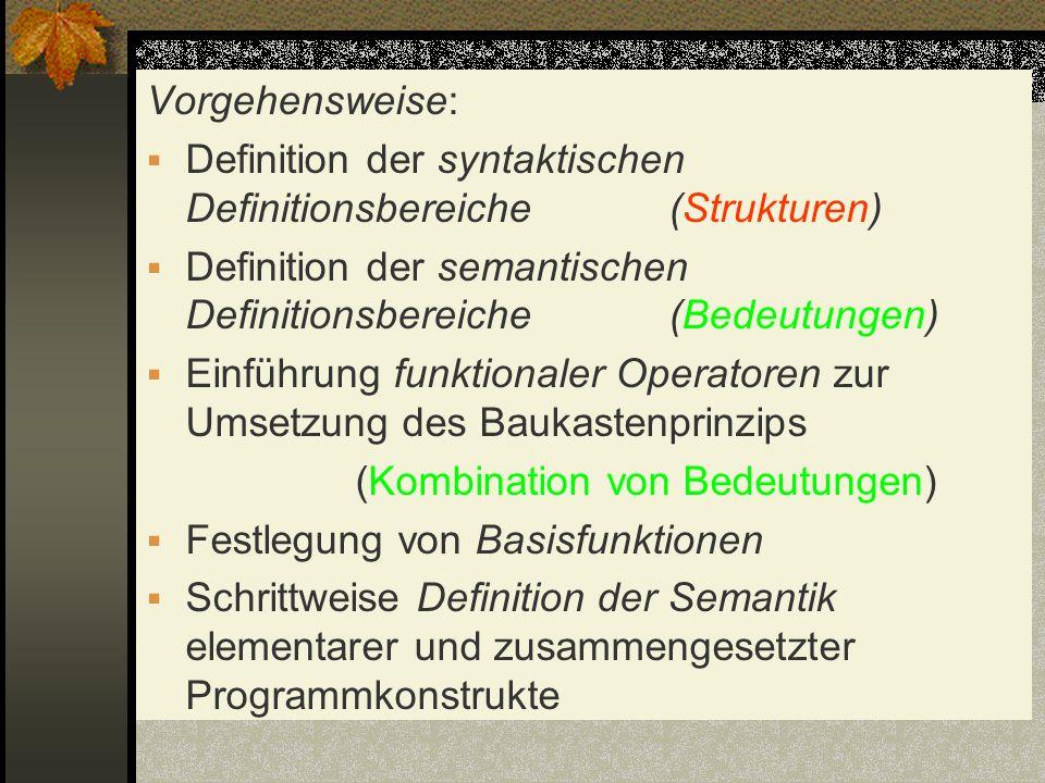Vorgehensweise: Definition der syntaktischen Definitionsbereiche(Strukturen) Definition der semantischen Definitionsbereiche(Bedeutungen) Einführung f