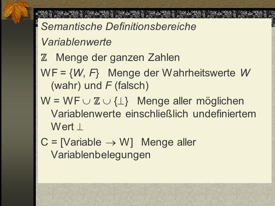 Semantische Definitionsbereiche Variablenwerte Menge der ganzen Zahlen WF = {W, F} Menge der Wahrheitswerte W (wahr) und F (falsch) W = WF { } Menge a