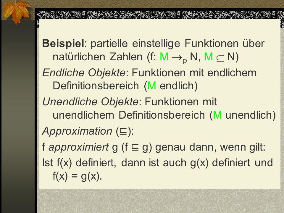 Beispiel: partielle einstellige Funktionen über natürlichen Zahlen (f: M p N, M N) Endliche Objekte: Funktionen mit endlichem Definitionsbereich (M en