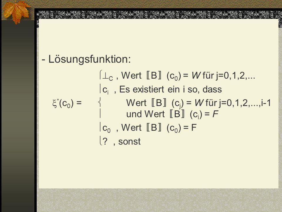 - Lösungsfunktion: C, Wert B (c 0 ) = W für j=0,1,2,... c i, Es existiert ein i so, dass * (c 0 ) = Wert B (c j ) = W für j=0,1,2,...,i-1 und Wert B (
