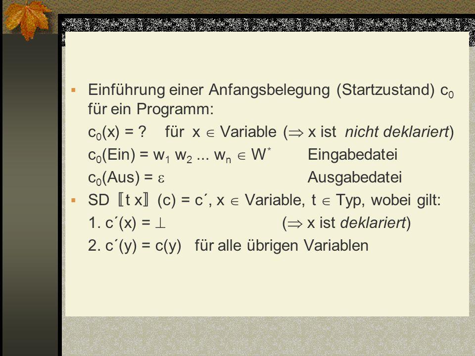 Einführung einer Anfangsbelegung (Startzustand) c 0 für ein Programm: c 0 (x) = ? für x Variable ( x ist nicht deklariert) c 0 (Ein) = w 1 w 2... w n