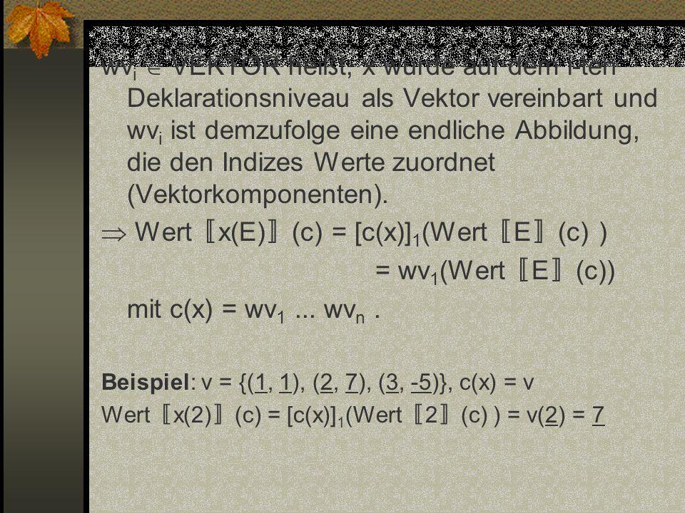 wv i VEKTOR heißt, x wurde auf dem i-ten Deklarationsniveau als Vektor vereinbart und wv i ist demzufolge eine endliche Abbildung, die den Indizes Wer