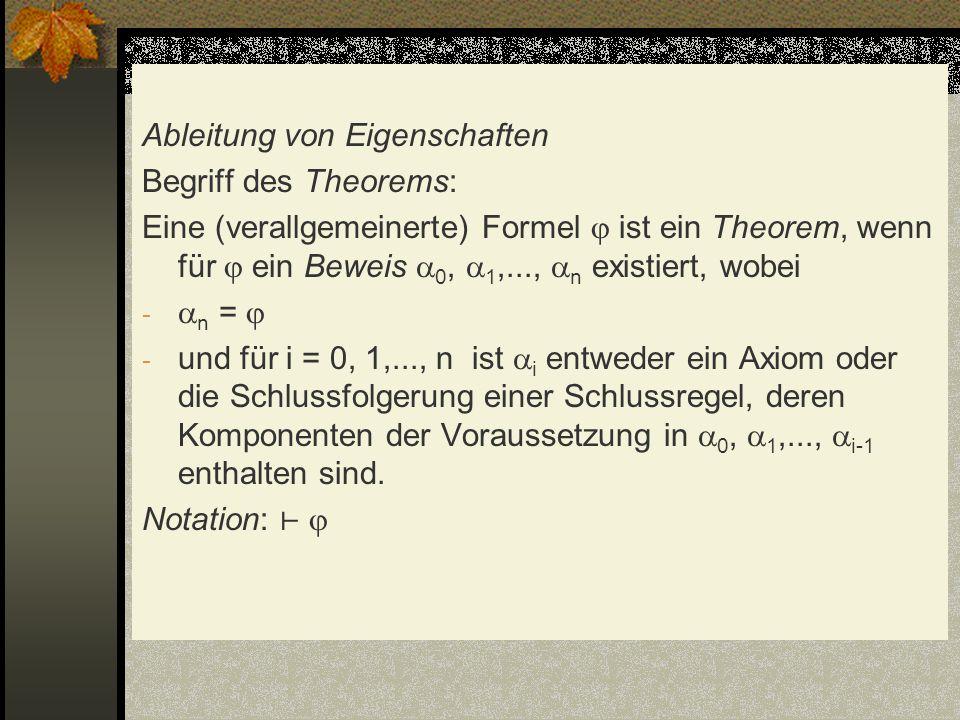 Ableitung von Eigenschaften Begriff des Theorems: Eine (verallgemeinerte) Formel ist ein Theorem, wenn für ein Beweis 0, 1,..., n existiert, wobei - n