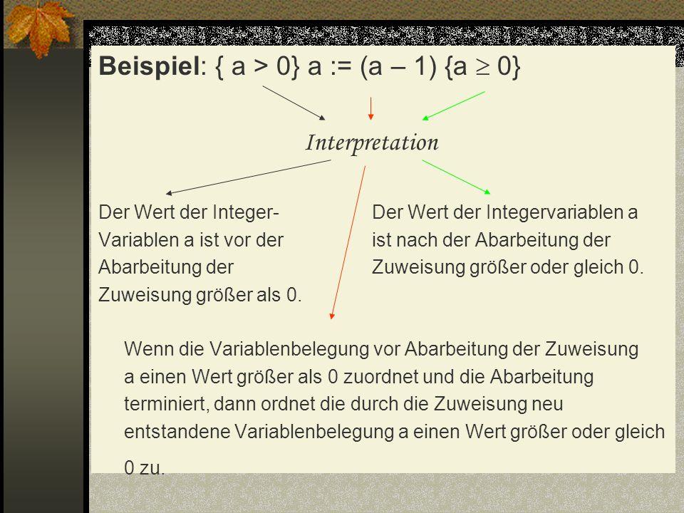 Beispiel: { a > 0} a := (a – 1) {a 0} Interpretation Der Wert der Integer-Der Wert der Integervariablen a Variablen a ist vor derist nach der Abarbeit