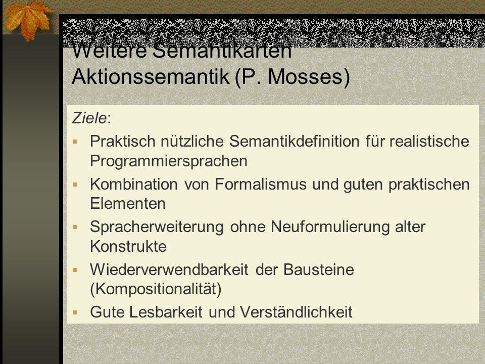 Weitere Semantikarten Aktionssemantik (P. Mosses) Ziele: Praktisch nützliche Semantikdefinition für realistische Programmiersprachen Kombination von F