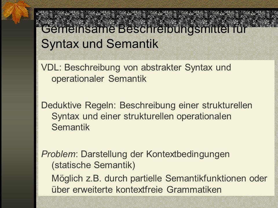 Gemeinsame Beschreibungsmittel für Syntax und Semantik VDL: Beschreibung von abstrakter Syntax und operationaler Semantik Deduktive Regeln: Beschreibu