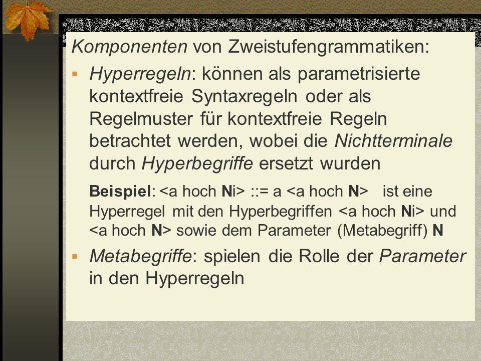 Komponenten von Zweistufengrammatiken: Hyperregeln: können als parametrisierte kontextfreie Syntaxregeln oder als Regelmuster für kontextfreie Regeln