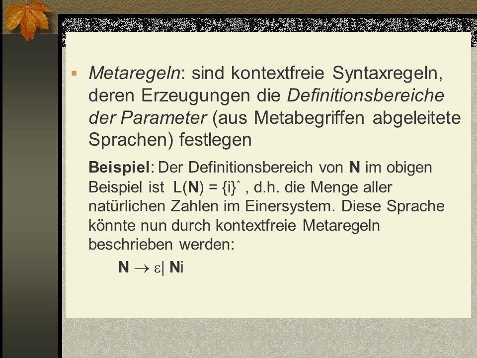 Metaregeln: sind kontextfreie Syntaxregeln, deren Erzeugungen die Definitionsbereiche der Parameter (aus Metabegriffen abgeleitete Sprachen) festlegen