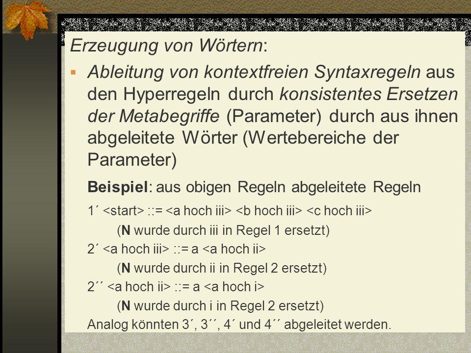 Erzeugung von Wörtern: Ableitung von kontextfreien Syntaxregeln aus den Hyperregeln durch konsistentes Ersetzen der Metabegriffe (Parameter) durch aus
