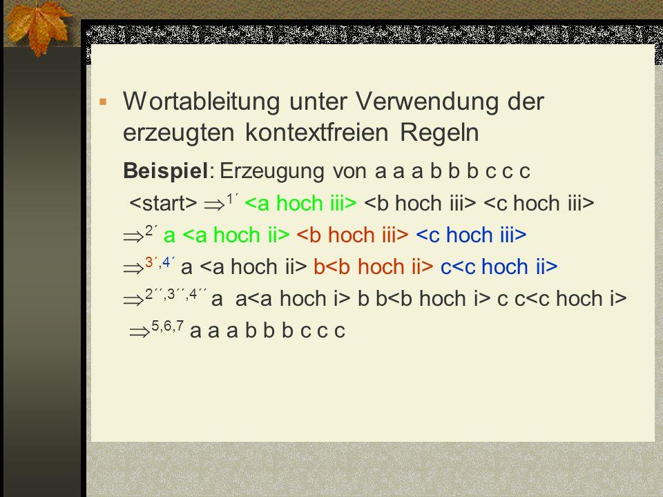 Wortableitung unter Verwendung der erzeugten kontextfreien Regeln Beispiel: Erzeugung von a a a b b b c c c 1´ 2´ a 3´,4´ a b c 2´´,3´´,4´´ a a b b c