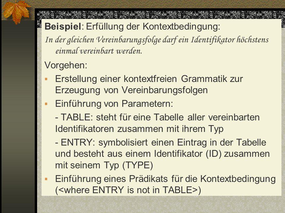 Beispiel: Erfüllung der Kontextbedingung: In der gleichen Vereinbarungsfolge darf ein Identifikator höchstens einmal vereinbart werden. Vorgehen: Erst