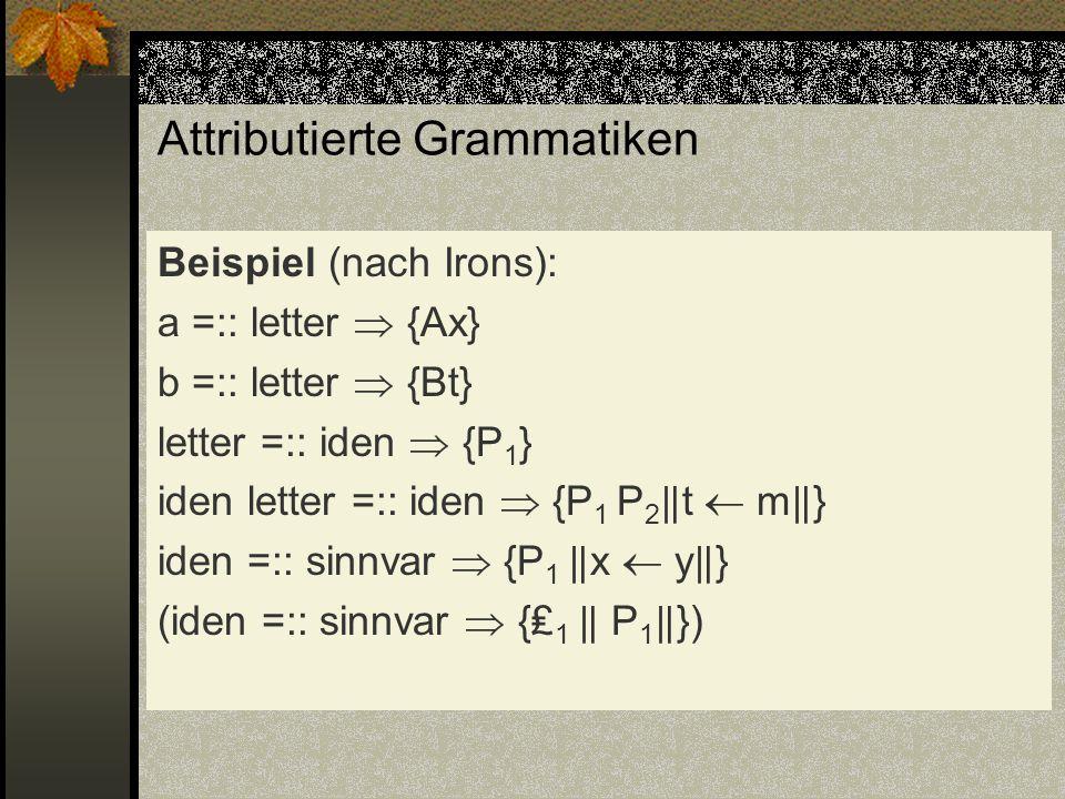 Attributierte Grammatiken Beispiel (nach Irons): a =:: letter {Ax} b =:: letter {Bt} letter =:: iden {P 1 } iden letter =:: iden {P 1 P 2 t m } iden =