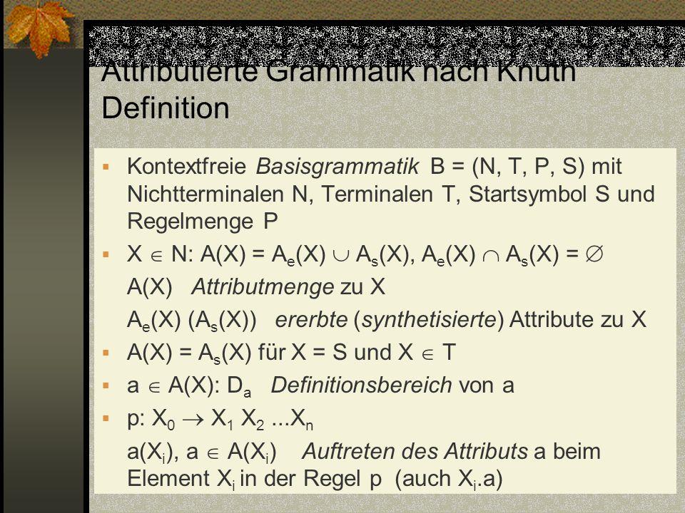 Attributierte Grammatik nach Knuth Definition Kontextfreie Basisgrammatik B = (N, T, P, S) mit Nichtterminalen N, Terminalen T, Startsymbol S und Rege