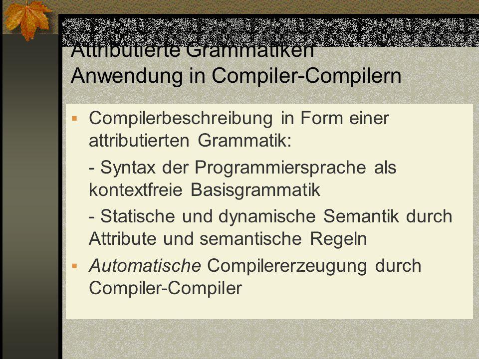 Attributierte Grammatiken Anwendung in Compiler-Compilern Compilerbeschreibung in Form einer attributierten Grammatik: - Syntax der Programmiersprache
