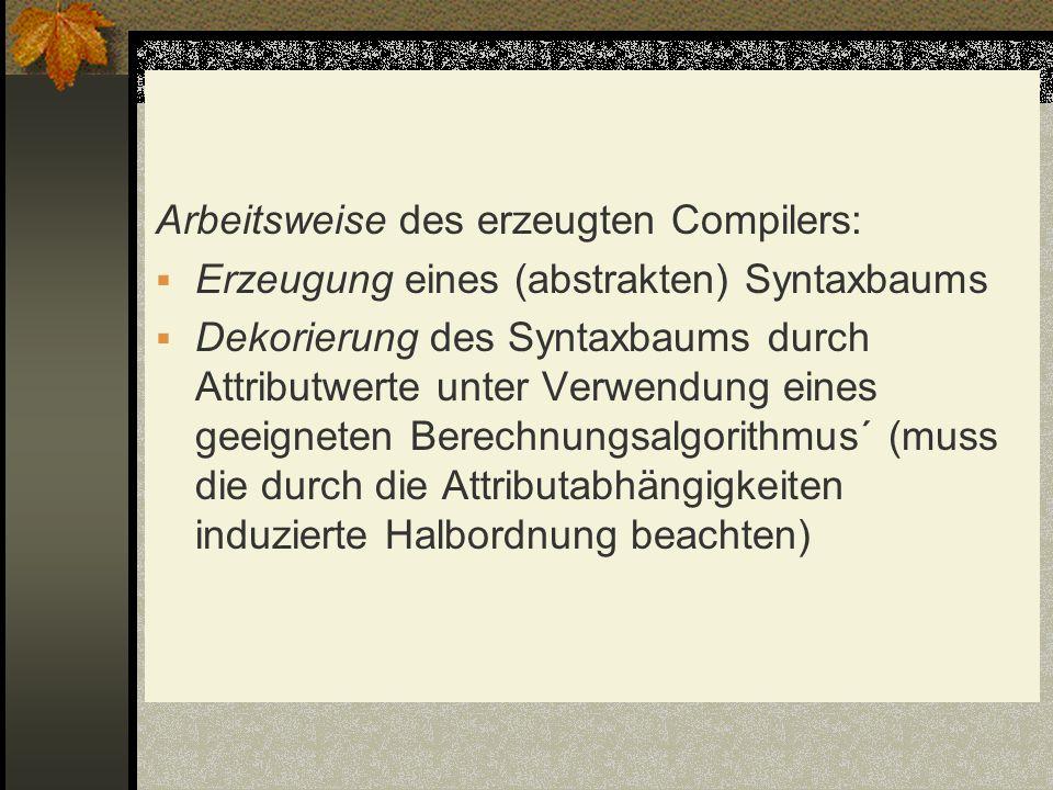Arbeitsweise des erzeugten Compilers: Erzeugung eines (abstrakten) Syntaxbaums Dekorierung des Syntaxbaums durch Attributwerte unter Verwendung eines