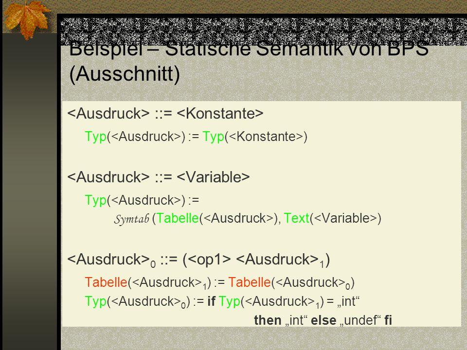 Beispiel – Statische Semantik von BPS´ (Ausschnitt) ::= Typ( ) := Typ( ) ::= Typ( ) := Symtab (Tabelle( ), Text( ) 0 ::= ( 1 ) Tabelle( 1 ) := Tabelle
