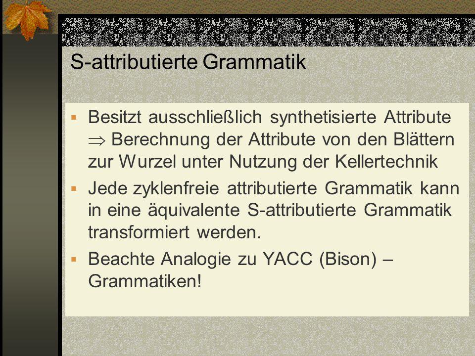 S-attributierte Grammatik Besitzt ausschließlich synthetisierte Attribute Berechnung der Attribute von den Blättern zur Wurzel unter Nutzung der Kelle
