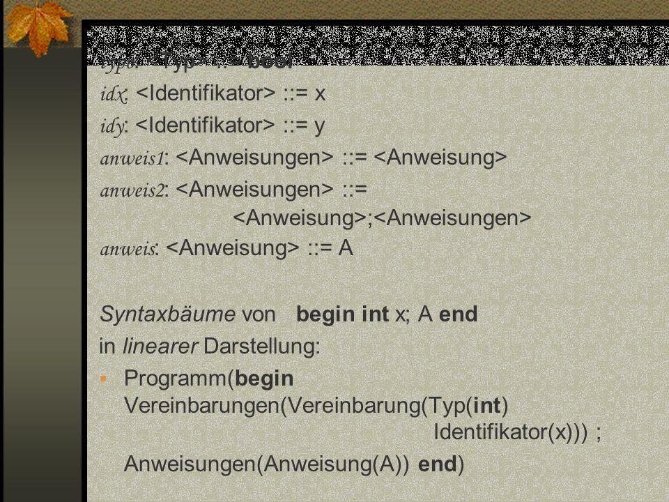 typb : ::= bool idx : ::= x idy : ::= y anweis1 : ::= anweis2 : ::= ; anweis : ::= A Syntaxbäume von begin int x; A end in linearer Darstellung: Progr