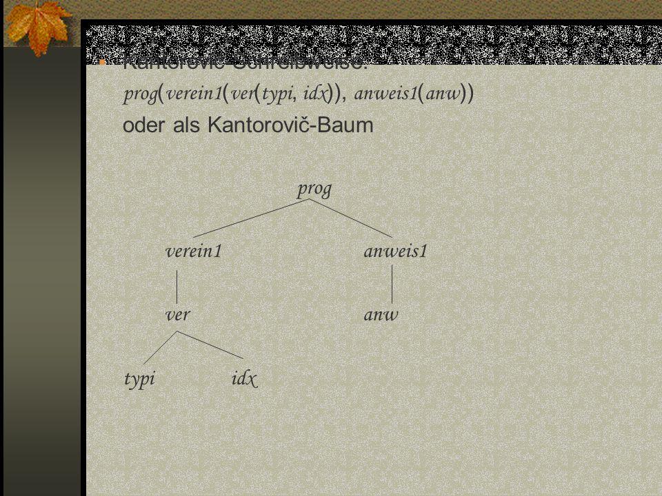 Kantorovič-Schreibweise: prog ( verein1 ( ver ( typi, idx )), anweis1 ( anw )) oder als Kantorovič-Baum prog verein1anweis1 veranw typiidx