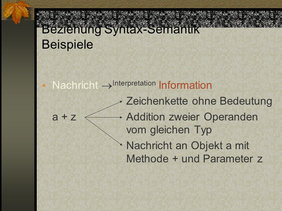 Semantik von Anweisungsfolgen SD A1 ; A2 = SD A1.