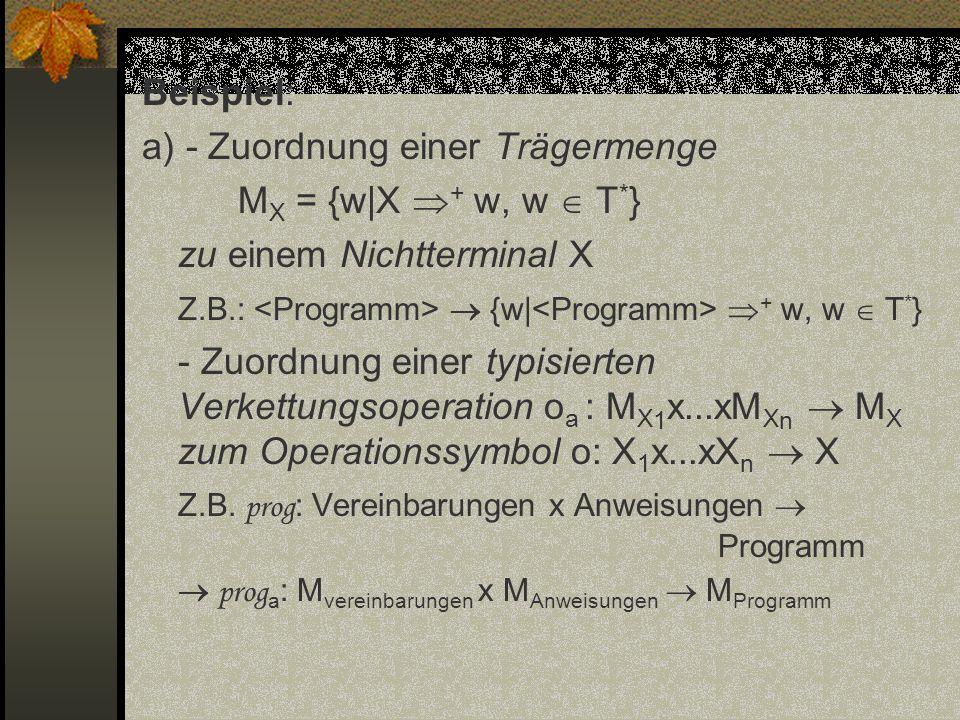 Beispiel: a) - Zuordnung einer Trägermenge M X = {w|X + w, w T * } zu einem Nichtterminal X Z.B.: {w| + w, w T * } - Zuordnung einer typisierten Verke