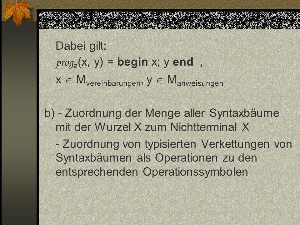 Dabei gilt: prog a (x, y) = begin x; y end, x M vereinbarungen, y M anweisungen b) - Zuordnung der Menge aller Syntaxbäume mit der Wurzel X zum Nichtt