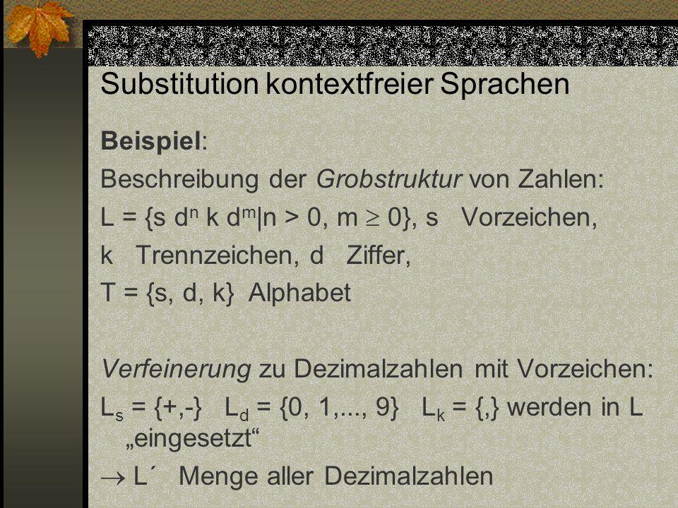 Substitution kontextfreier Sprachen Beispiel: Beschreibung der Grobstruktur von Zahlen: L = {s d n k d m |n > 0, m 0}, s Vorzeichen, k Trennzeichen, d