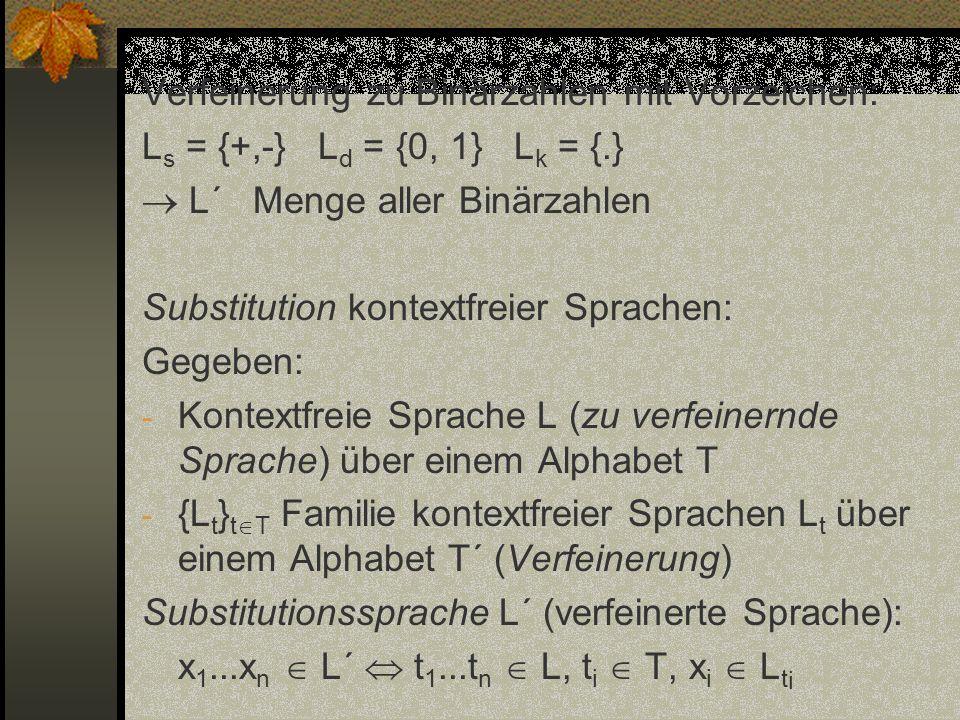 Verfeinerung zu Binärzahlen mit Vorzeichen: L s = {+,-} L d = {0, 1} L k = {.} L´ Menge aller Binärzahlen Substitution kontextfreier Sprachen: Gegeben