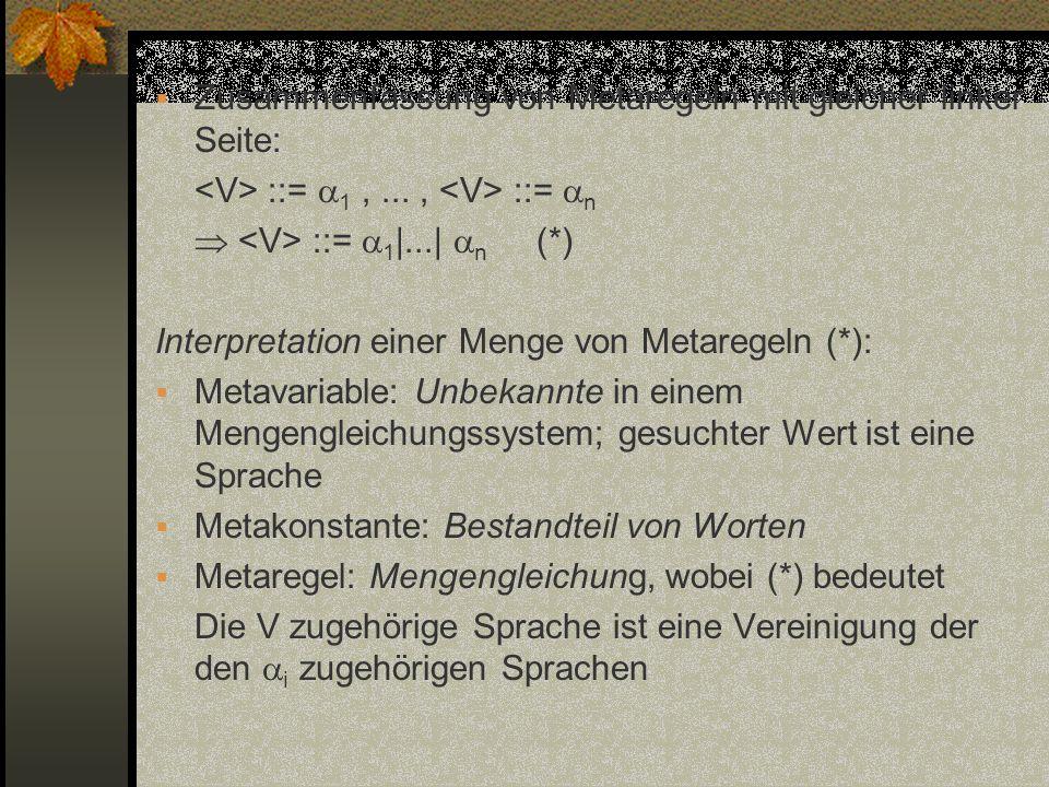 Zusammenfassung von Metaregeln mit gleicher linker Seite: ::= 1,..., ::= n ::= 1 |...| n (*) Interpretation einer Menge von Metaregeln (*): Metavariab