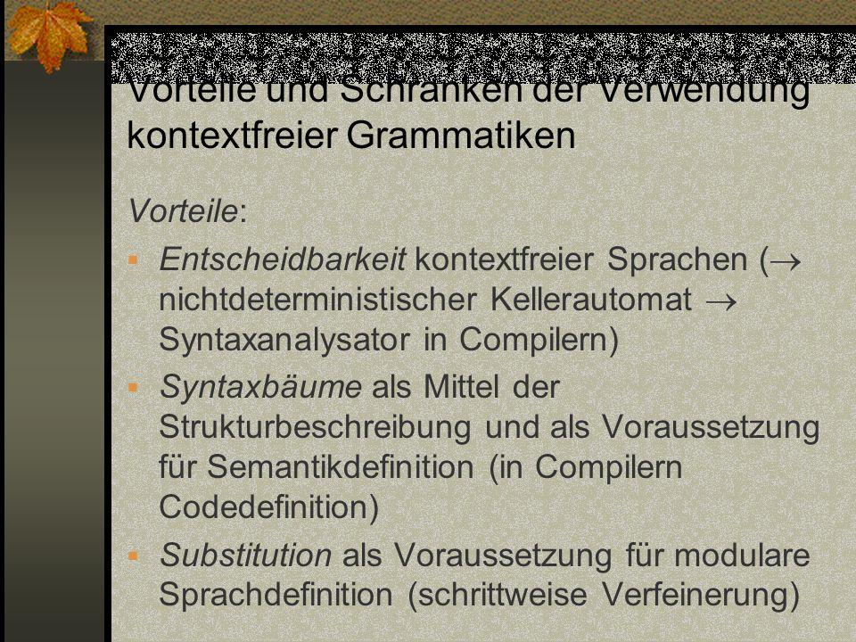 Vorteile und Schranken der Verwendung kontextfreier Grammatiken Vorteile: Entscheidbarkeit kontextfreier Sprachen ( nichtdeterministischer Kellerautom