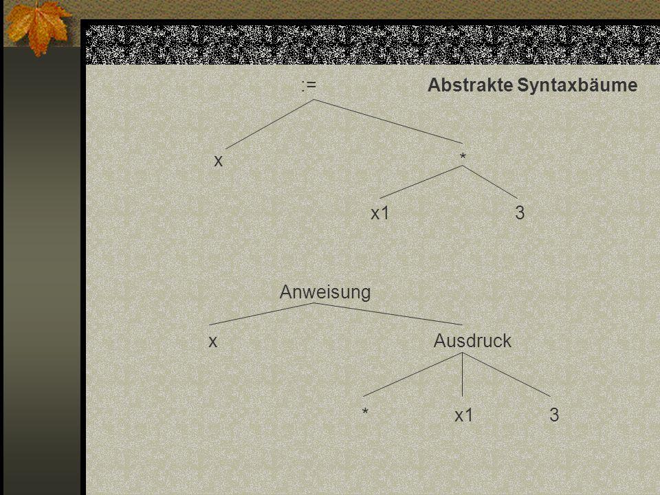 :=Abstrakte Syntaxbäume x * x1 3 Anweisung x Ausdruck * x1 3