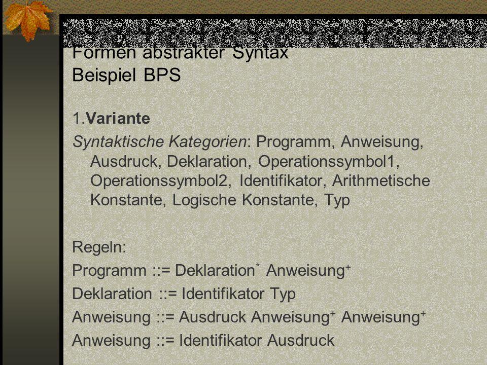 Formen abstrakter Syntax Beispiel BPS 1.Variante Syntaktische Kategorien: Programm, Anweisung, Ausdruck, Deklaration, Operationssymbol1, Operationssym