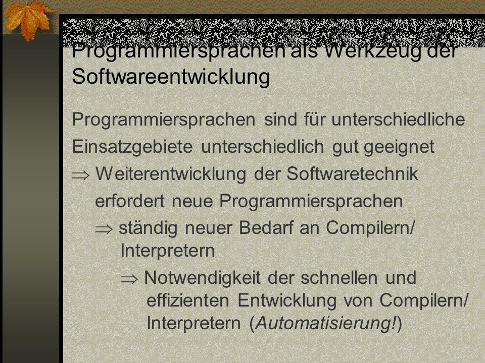 Programmiersprachen als Werkzeug der Softwareentwicklung Programmiersprachen sind für unterschiedliche Einsatzgebiete unterschiedlich gut geeignet Wei