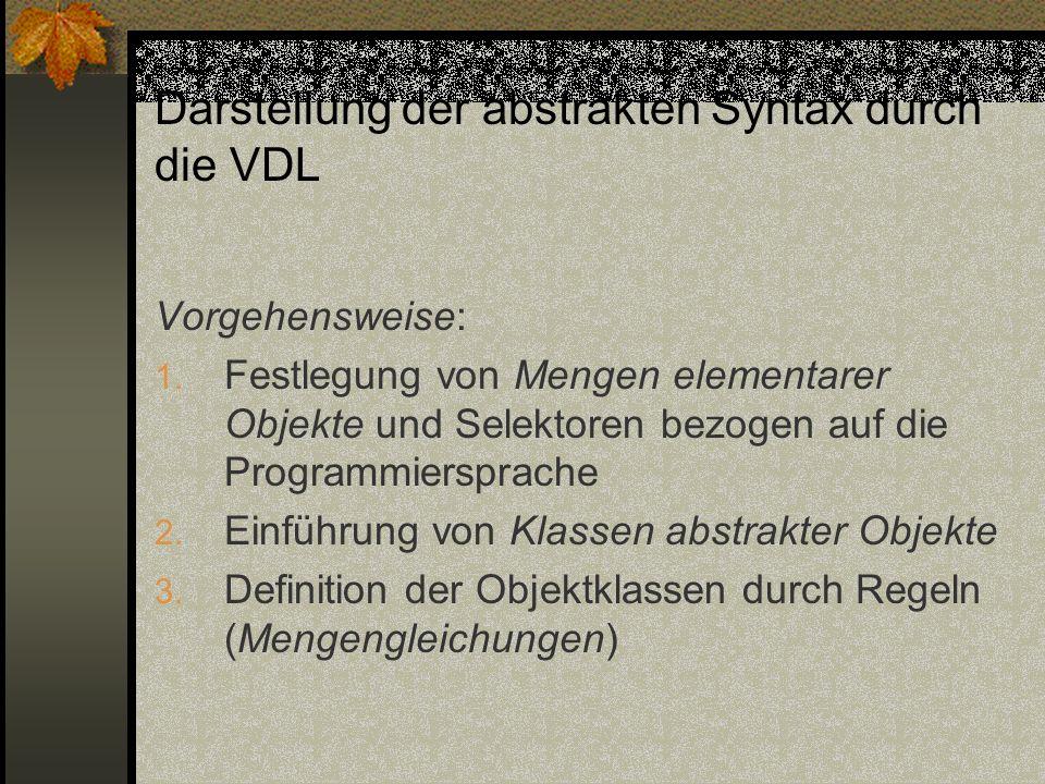 Darstellung der abstrakten Syntax durch die VDL Vorgehensweise: 1. Festlegung von Mengen elementarer Objekte und Selektoren bezogen auf die Programmie