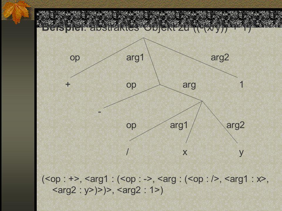 Beispiel: abstraktes Objekt zu ((-(x/y)) + 1) oparg1arg2 +oparg1 - op arg1 arg2 /xy (,,,, )>)>, )