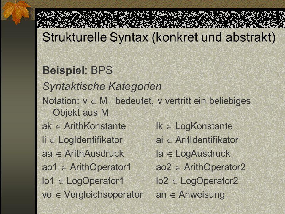 Strukturelle Syntax (konkret und abstrakt) Beispiel: BPS Syntaktische Kategorien Notation: v M bedeutet, v vertritt ein beliebiges Objekt aus M ak Ari