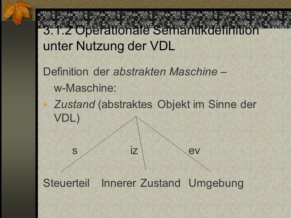 3.1.2 Operationale Semantikdefinition unter Nutzung der VDL Definition der abstrakten Maschine – w-Maschine: Zustand (abstraktes Objekt im Sinne der V