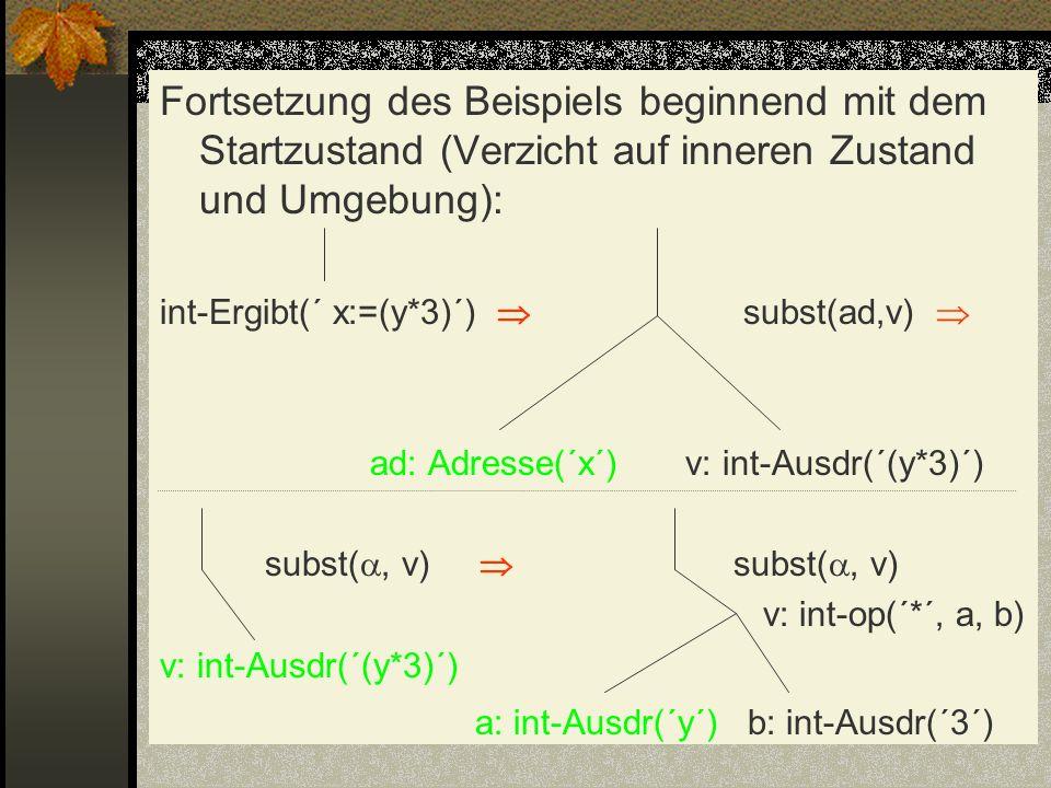 Fortsetzung des Beispiels beginnend mit dem Startzustand (Verzicht auf inneren Zustand und Umgebung): int-Ergibt(´ x:=(y*3)´) subst(ad,v) ad: Adresse(