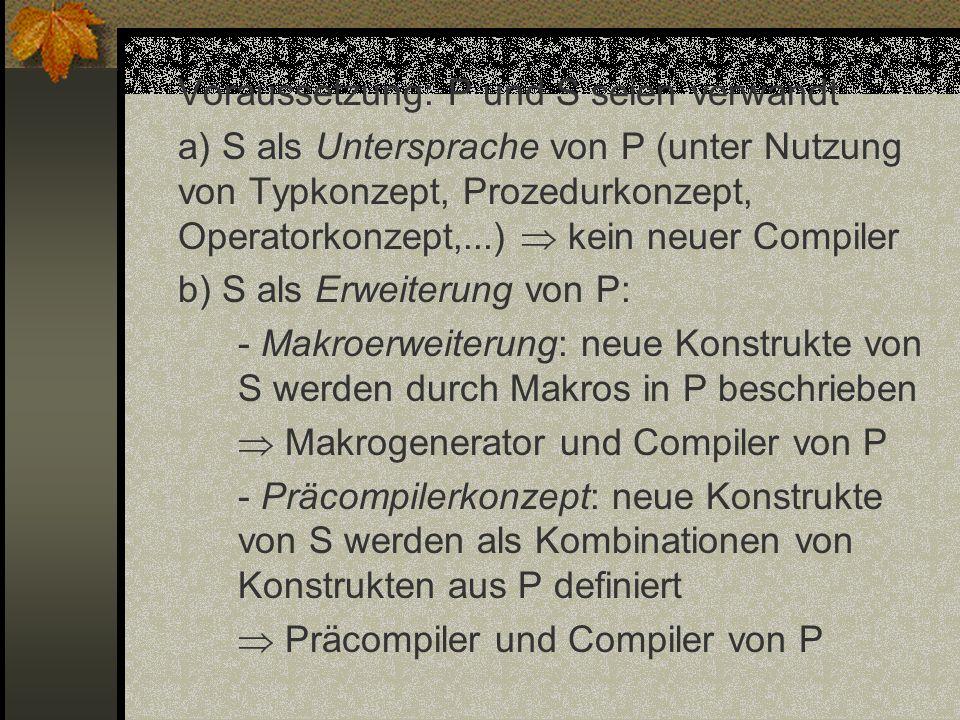 Voraussetzung: P und S seien verwandt a) S als Untersprache von P (unter Nutzung von Typkonzept, Prozedurkonzept, Operatorkonzept,...) kein neuer Comp