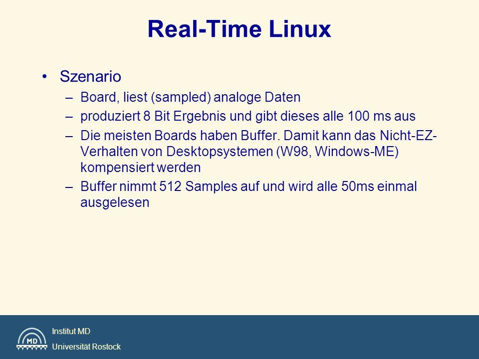 Institut MD Universität Rostock Real-Time Linux Szenario –Board, liest (sampled) analoge Daten –produziert 8 Bit Ergebnis und gibt dieses alle 100 ms aus –Die meisten Boards haben Buffer.